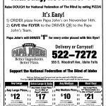 Papa John's Sponsers Fund Raiser for Idaho Falls Chapter of the NFB November  14th