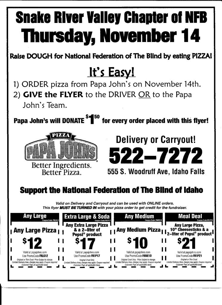 Print or Show This Flyer on Nov 14th