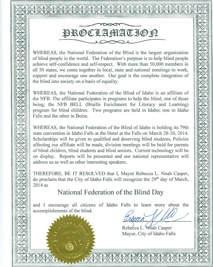 National Federation of the Blind Day Proclamation0001
